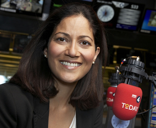 Programme Name: Today - TX: n/a - Episode: n/a (No. n/a) - Picture Shows:  Mishal Husain - (C) BBC - Photographer: Jude Edginton