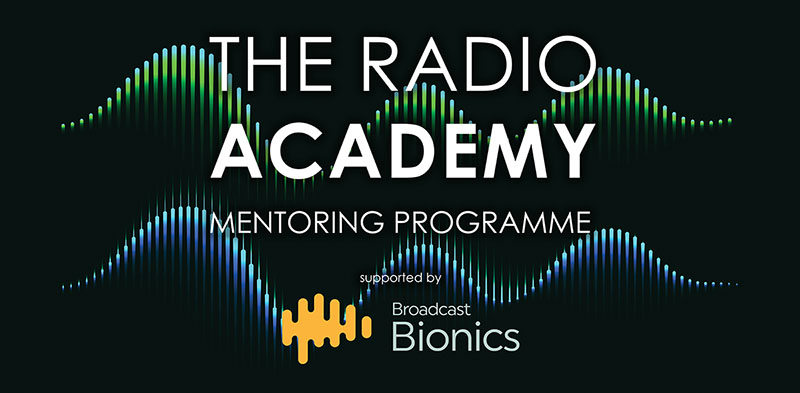 Logo for The Radio Academy Mentoring Programme supported by Broadcast Bionics
